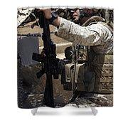 An Infantryman Talks To His Marines Shower Curtain