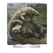 An Inostrancevia Attacks A Scutosaurus Shower Curtain