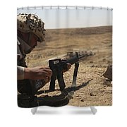 An Iraqi Army Soldier Prepares To Fire Shower Curtain