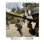 An Iraqi Army Soldier Provides Security Shower Curtain by Stocktrek Images