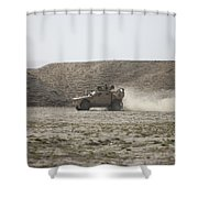 An M-atv Races Across The Wadi Shower Curtain