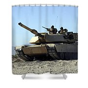 An M1a1 Main Battle Tank Shower Curtain