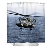 An Mh-53e Sea Dragon In Flight Shower Curtain