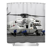 An Mh-53e Super Stallion Helicopter Shower Curtain