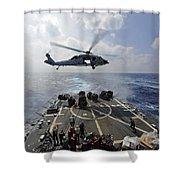 An Mh-60r Sea Hawk Transfers Supplies Shower Curtain