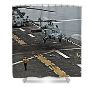 An Mh-60s Sea Hawk Lands Aboard Shower Curtain