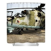 An Mi-24 Russian Helicopter Shower Curtain