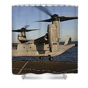 An Mv-22 Osprey Lands Aboard Usns Shower Curtain