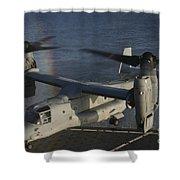 An Mv-22 Osprey Prepares To Land Aboard Shower Curtain