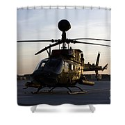 An Oh-58d Kiowa During Sunset Shower Curtain