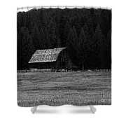 An Old Barn In Black And White Shower Curtain