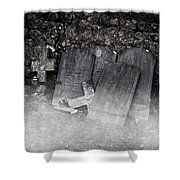 An Old Cemetery With Grave Stones And Fog Shower Curtain