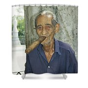An Old Man Smokes An Over-sized Cigar Shower Curtain