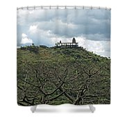 An Old Temple Building On Top Of A Hill With A Lot Of Clouds In The Sky Shower Curtain