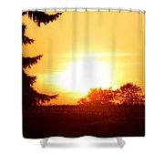 Photograph Of The White Hot Sun On An Orange Horizon With Lens Flare Shower Curtain