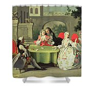 An Ornamental Garden With Elegant Figures Seated Around A Card Table Shower Curtain