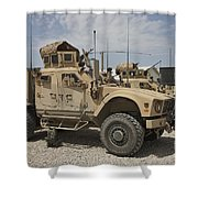 An Oshkosh M-atv Parked At A Military Shower Curtain