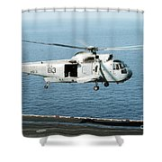 An Sh-3h Sea King Helicopter Prepares Shower Curtain