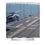 An Sh-60 Sea Hawk Helicopter Lands Shower Curtain