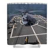 An Sh-60b Sea Hawk Lands On The Flight Shower Curtain