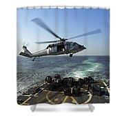 An Sh-60r Sea Hawk Delivers Pallets Shower Curtain