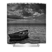 Anchored Row Boat Looking Out To Sea Shower Curtain