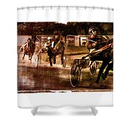 and the winner is - A vintage processed Menorca trotting race Shower Curtain