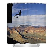 Andy Marquardt Rappels Down A Cliff Shower Curtain