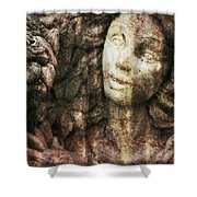 Angel Cast In Stone Shower Curtain