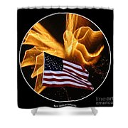 Angel Fireworks And American Flag Shower Curtain by Rose Santuci-Sofranko