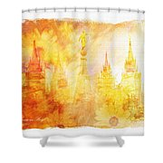 Angel Golden Shower Curtain by La Rae  Roberts