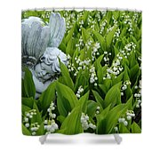 Angel In The Lilies Shower Curtain