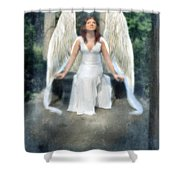 Angel On Stone Bench Looking Up Into The Light Shower Curtain
