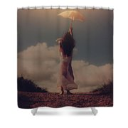 Angel With Parasol Shower Curtain