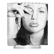 Angelina Jolie Pencil Art Shower Curtain