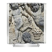 Angels With Grapes Shower Curtain by Joana Kruse