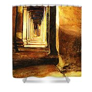Angkor Corridor- Cambodia Shower Curtain