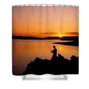 Angler At Sunset, Roaring Water Bay, Co Shower Curtain