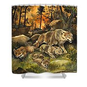 Animals United In Terror As They Flee From A Forest Fire Shower Curtain