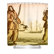Anne Bonny And Mary Read, 18th Century Shower Curtain by Photo Researchers