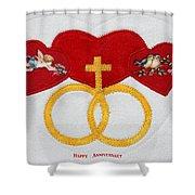 Anniversary Hearts Shower Curtain