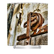 Antique - Door Rail - Rusty Shower Curtain