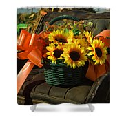 Antique Buggy And Sunflowers Shower Curtain