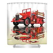Antique Fire Engine Shower Curtain