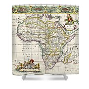 Antique Map Of Africa Shower Curtain by Dutch School