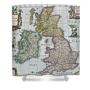 Antique Map Of Britain Shower Curtain