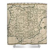 Antique Map Of Spain Shower Curtain