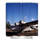 Antique Navy Seaplane Parked In Front Shower Curtain by Michael Wood