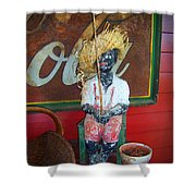 Antique Plaster Black Child Fisherman With Coca Cola Background Shower Curtain
