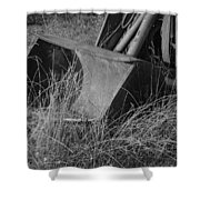 Antique Tractor Bucket In Black And White Shower Curtain by Jennifer Ancker